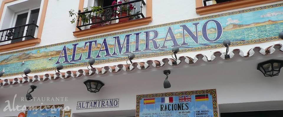 Cartel de la entrada del Bar Restaurante Altamirano en Marbella